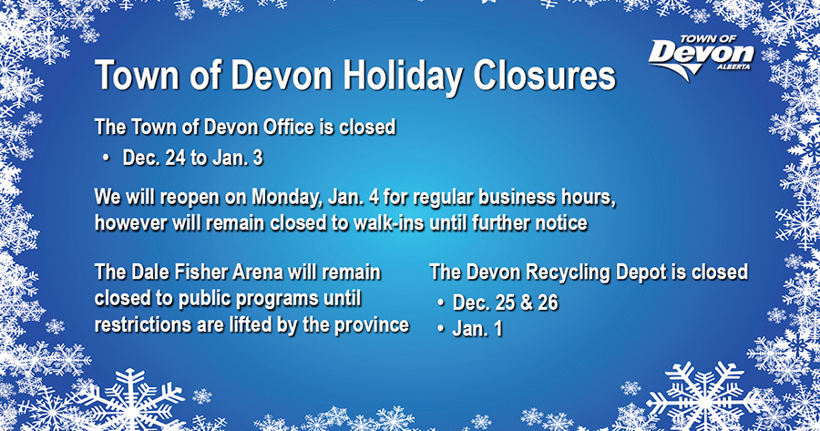 Town of Devon 2020 Holiday Closures